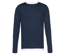 Grauer Feinstrick-Pullover blau