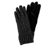 Wollhandschuhe mit Strickmuster schwarz