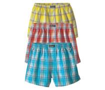 Boxershorts (3 Stück) Webboxer in modischen Farben aus reiner Baumwolle türkis / gelb / rot