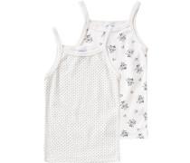 Doppelpack Unterhemden für Mädchen navy / hellgrau / schwarz / weiß