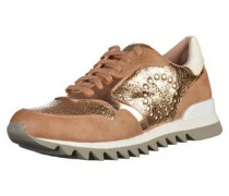 Sneaker mit Applikation ocker / gold