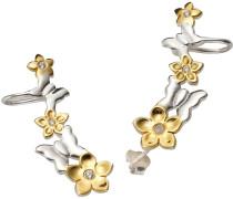 Ohrstecker mit Ohrklemme »Ear Cuffs Blumen und Schmetterlinge« silber