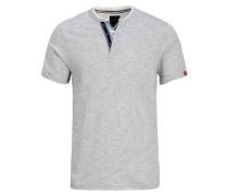 Split-Neck-T-Shirt blau / hellgrau
