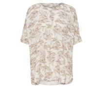 Bedrucktes Kurzarmhemd hellbraun / weiß