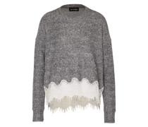 Sweatshirt aus Fleece grau / weiß