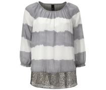 Batikbluse mit Pailletten grau / weiß