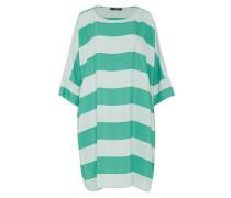 Oversize Blockstreifen-Kleid jade / weiß