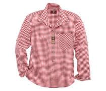 Trachtenhemd Herren mit Brusttasche rot / weiß