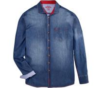 Trachtenhemd mit aufgesetzter Brusttasche blue denim