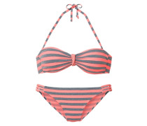 Bandeau-Bikini grau / koralle / pink