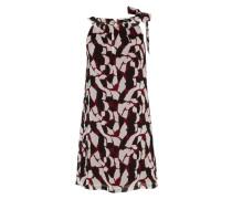 Ärmelloses Kleid weinrot / schwarz / weiß