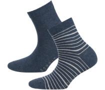 2 Paar Socken taubenblau / hellgrau