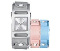 3-tlg. UhrenSet hellblau / dunkelgrau / rosa