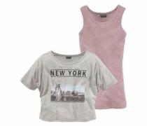 Shirt & Top (Set 2 tlg.) graumeliert / rosa