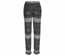 Loungehose im Ethnoprint mit tiefem Schritt beige / hellblau / schwarz