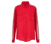 Bluse mit Spitzeneinsatz rot