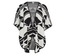 Kontrastreich gefärbter Poncho schwarz / weiß