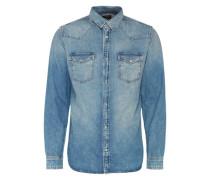Jeanshemd mit Druckknopfleiste blue denim