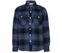 Langarmhemd taubenblau / schwarz