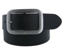 Ledergürtel mit Metallschließe schwarz / silber
