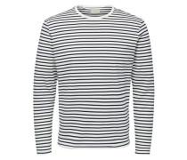 Gestreiftes T-Shirt mit langen Ärmeln anthrazit / weiß