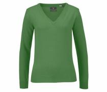 Extrafeiner V-Pullover grün