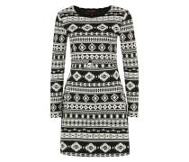 Kleid mit Azteken-Muster schwarz