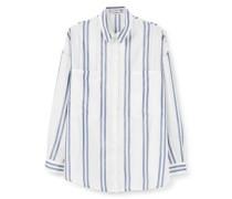 Gestreiftes Oversize-Hemd blau / weiß