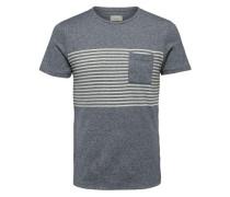 Rundhalsausschnitt T-Shirt blaumeliert / weiß