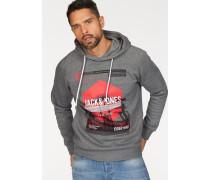 Kapuzensweatshirt 'dynel Sweat Hood' graumeliert / rot / schwarz / weiß
