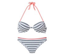Push-up Bikini blau / koralle / weiß