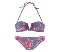 Bandeau-Bikini hellgrün / flieder / pink