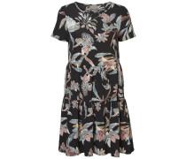 Blumen-Kleid mit kurzen Ärmeln mischfarben / schwarz