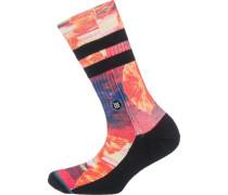 'Stranded' Socken gelb / dunkelorange / rot / schwarz