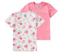 Doppelpack Unterhemden für Mädchen beige / pastellgrün / pink / altrosa