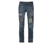 Boyfriend-Jeans »Stickerei & Flicken« blau