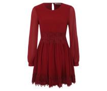 Chiffon-Kleid mit Unterkleid burgunder