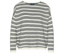 knit gestreifter Pullover mit Struktur creme / taubenblau