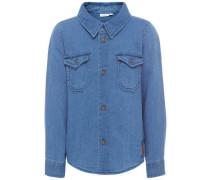 Langarmhemd Schlichtes blau