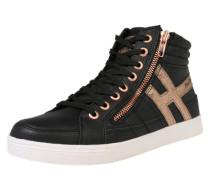 Sneaker mit Glitzer rosegold / schwarz