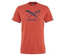 T-Shirt mit Logo-Print 'Daily Flag' dunkelblau / rostrot