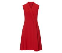 Kleid mit V-Ausschnitt in eleganter Wickeloptik rot