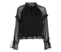 Langärmelige Rüschen-Bluse schwarz