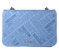 Handtasche mit Label-Prägung hellblau