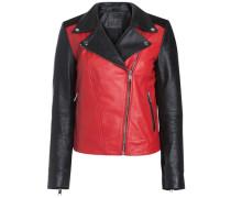 Lederjacke rot / schwarz