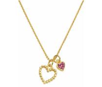 Kette mit Anhänger 'Herzen' gold / pink