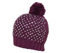Mütze mit Glitzersteinen lila