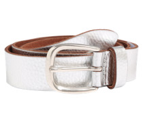 Ledergürtel mit Metallic-Look silber