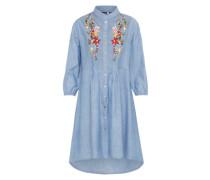 Kleid 'ana Embroidered' blau
