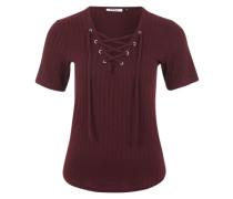 T-Shirt mit Schnürdetails rot